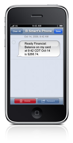 Ready Card Alerts to email or mobile phone