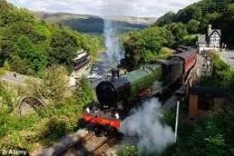 A Steam Train on the Llangollen Railway tracks