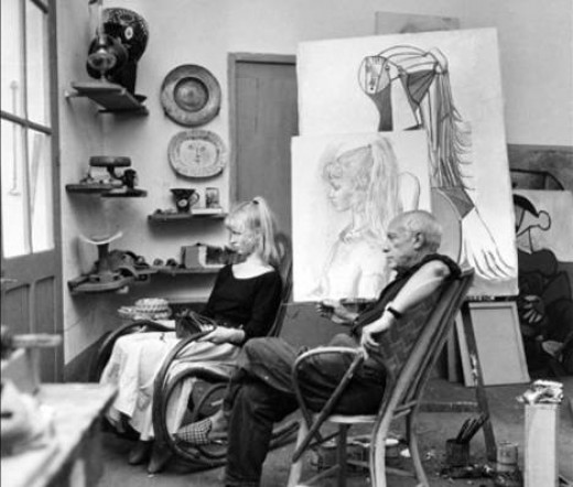 Sylvette David and Picasso in the artist's studio