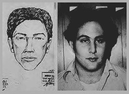 The police sketch of the Son of Sam  juxtaposed with a mugshot of David Berkowitz.