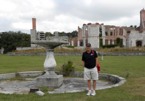 Mike in front of the mansion ruins