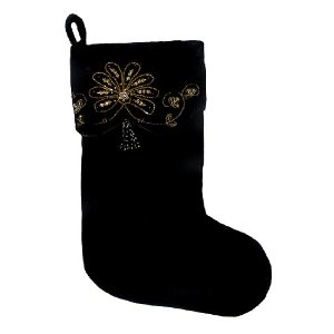 Elegant Black Christmas Stocking with Gold Beaded Swirl Design