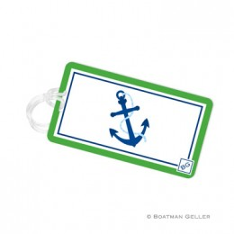 Nautical Luggage Tag - A Little Whimsical with Bright Green and Blue and an Anchor In the Center