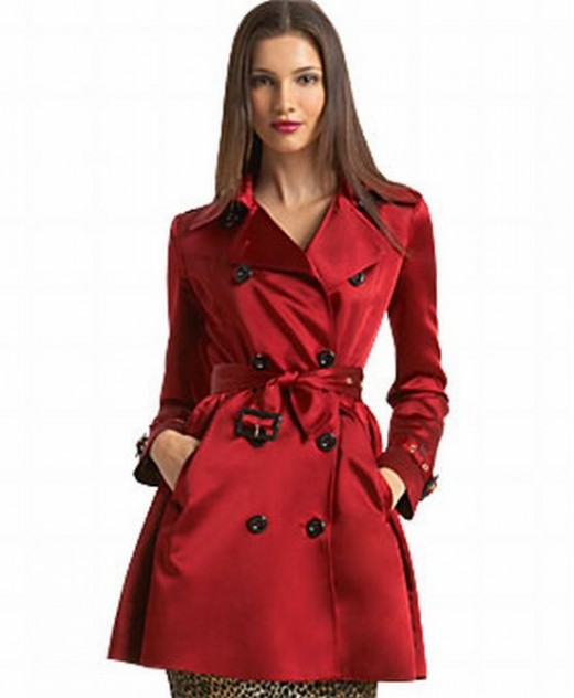 Contemporary Trench Coat in Red