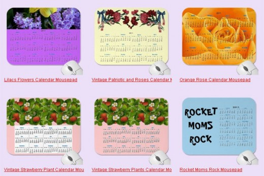 Six of twelve mouse pad calendars from Sandyspider Gifts on Zazzle. http://www.zazzle.com/sandyspider*