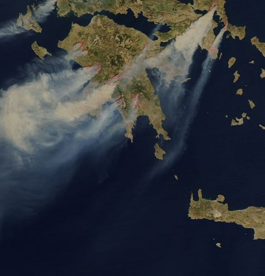 Satellite view of the fires, August 25, 2007.