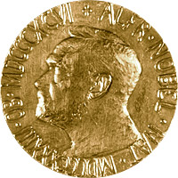 Face of the Nobel Peace Prize Medal.  Courtesy of the Nobel Foundation.