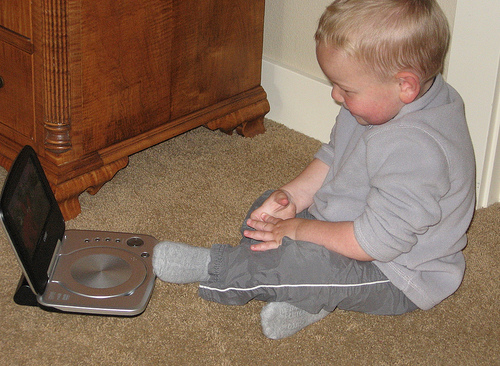 I guess it's never too young to have a portable DVD player!
