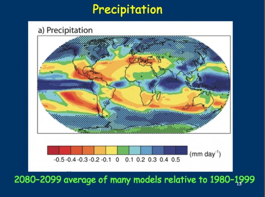 Precipitation changes projected for 2080-99.  Note implied  risks of very severe drought in Mexice, Chile and the Mediterranean basin.  Image courtesy Dr. Andrew Weaver.