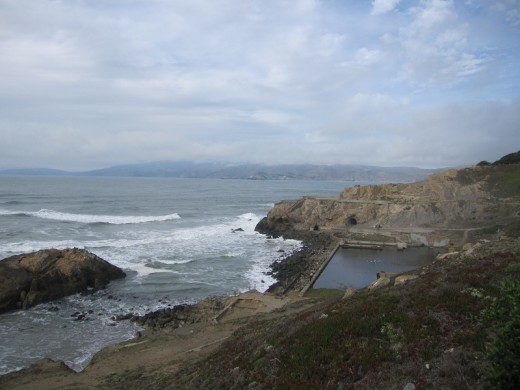 On the right are what's left of the old pools down the hill at the Cliff House.