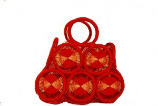 Fort Portal Handmade from Papyrus and raffia (red) Made in Uganda.