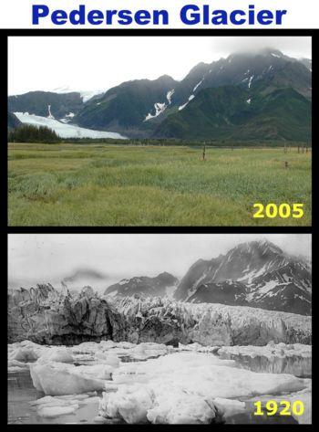 Glacial retreat, Alaska.  Image courtesy Global Warming Art.