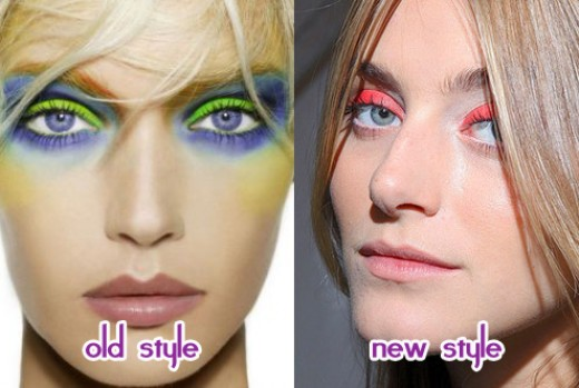Bright eyeshadow, old and new.