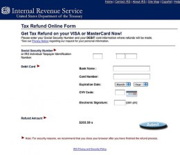 Fake IRS website, set up by scammers to steal your info.