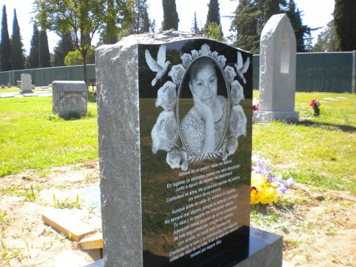 Laser Engraved Upright Headstone Monument