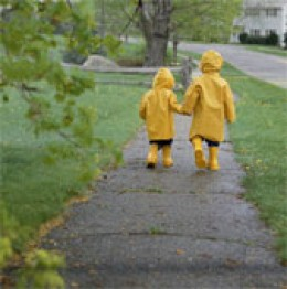 Walking to school on a rainy day !
