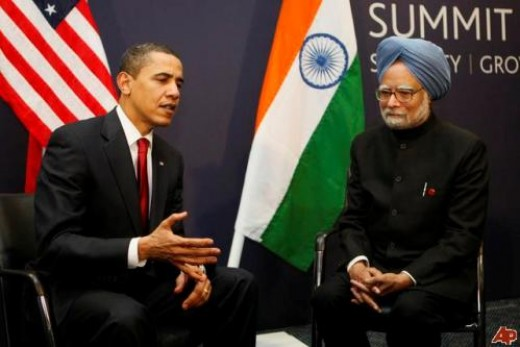 US President Barack Obama with Indian Prime Minister Manmohan Singh in India