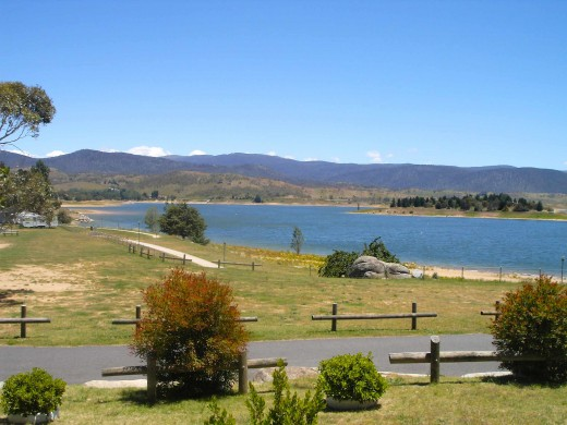 The original township of Jindabyne lies at the bottom of this man-made lake - part of the Snowy Mountains Hydro-electric Scheme of the 1960s.