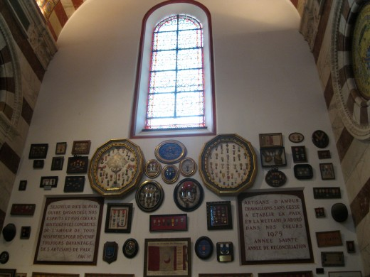 Wall of Chapel with medals and other military mementos