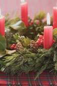 Advent wreath with lighted candles