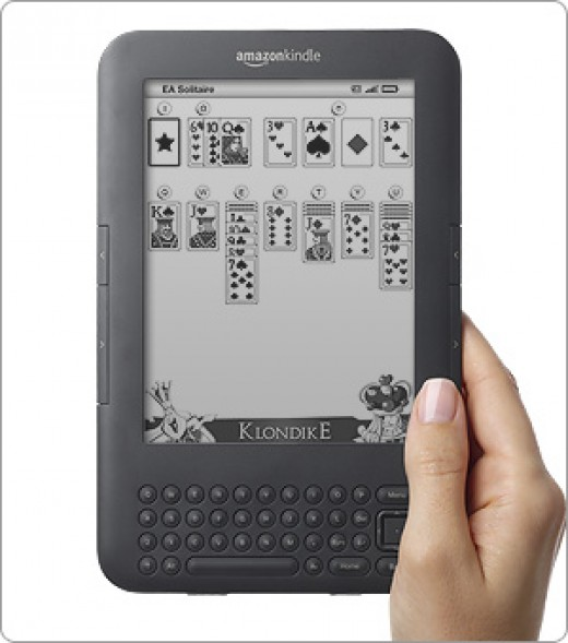 How Solitaire will appear on your Kindle screen