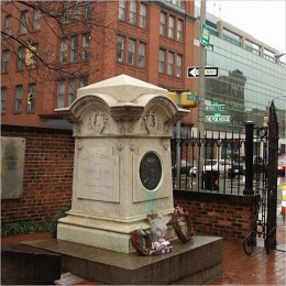 The site of the new grave Poe was moved to in 1875.