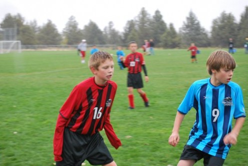 Game face during a soccer match