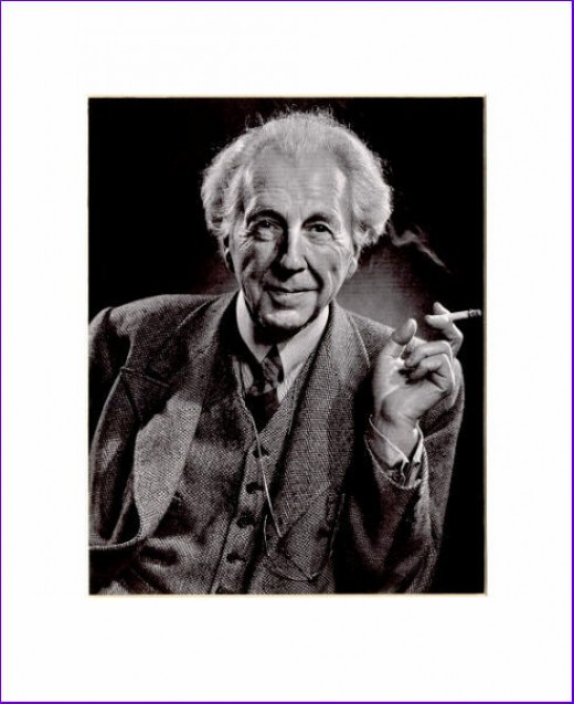 black and white photo of Frank Lloyd Wright