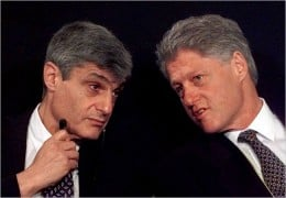 Robert Rubin and Bill Clinton--responsible for repealing the Glass Steagall Act which prohibited banks from gambling with their depositors' money