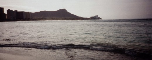 Here is the photograph I took on Waikiki Beach back on April 3, 2002.