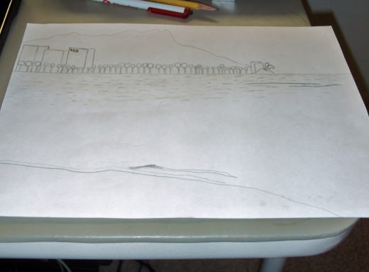 In this stage of the sketch you can see how I used artistic license to create palm trees and high rise hotels that may not be exactly where these were in the original photograph.  My sketch portrays the essence of my feelings about Waikiki.