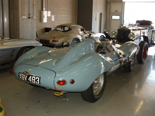 Jaguar D Type and a Lightweight in the background
