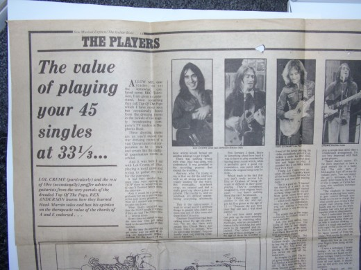1974 new musical express article on learning the guitar. Lol creme explained how they'd play a single at 33 instead of 45 rpm to work out the solo!