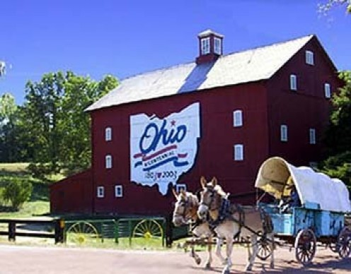Lewis Center - Ohio Bicentennial Barn. Article by Rickie Longfellow.