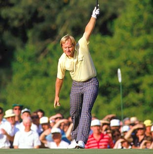 Iconic image of Nicklaus following his birdie putt on 17 into the hole