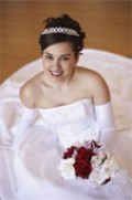 This happy bride ordered her wedding gown in plenty of time!
