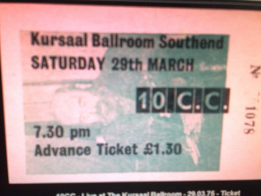 A ticket for 10cc's gig at the kursaal Ballroom, southend on sea, march 29th, 1975. with thanks to the sharon Riley collection.
