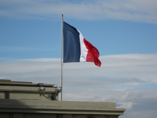 French Flag Flying from Church Tower