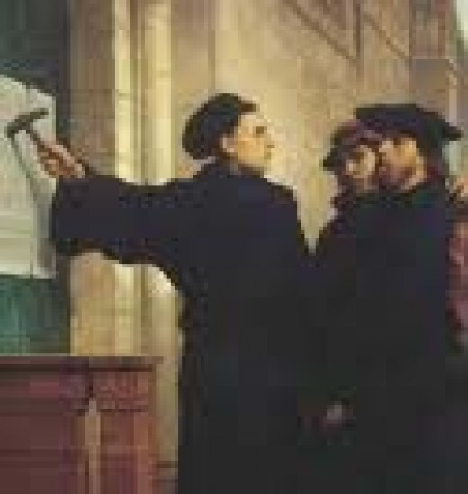 95 Theses being nailed to the Castle Churchs door on October 31, 1517