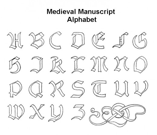 Medieval Lettering and Alphabet Coloring Page