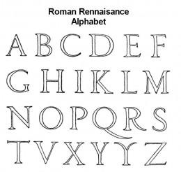 Roman Renaissance Alphabet Coloring Page