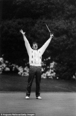 Faldo basks in the immediate aftermath of his maiden Masters victory