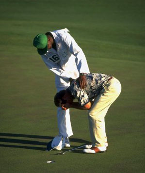 Crenshaw is overcome with emotion after emerging victorious for his second Masters title.