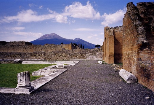 Mount Vesuvius as seen from Pompeii, Naples, Italy