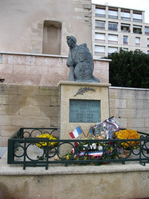 A French War Memorial to World War I and World War II in the Old Port area of Marseilles, France