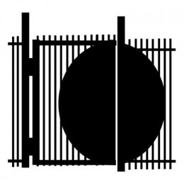 Metal gate with sheet metal applied to guard against reach-through unauthorized entry.