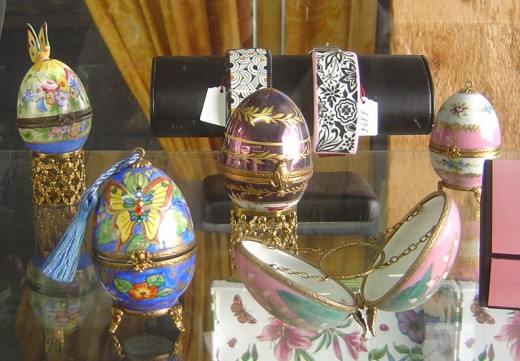 Beautiful decorative eggs at La Vie en Rose Porcelain factory in Saint Junien, S W France