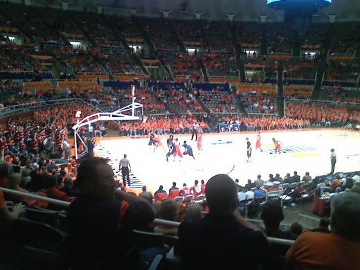 Action photo from University of Illinois basketball game on 11/10/10.