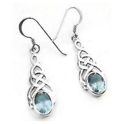 Sterling Silver Celtic Knot Blue Topaz Hook Earrings