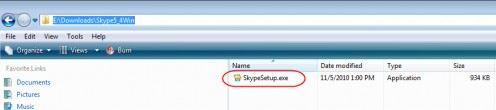 Diagram 4. The Skype installer saved to a folder on the hard disk